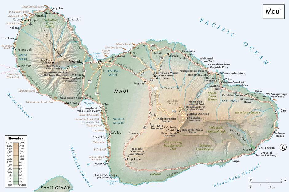 Hillshaded relief of Maui. Fodor's Travel Publication. fodors.com
